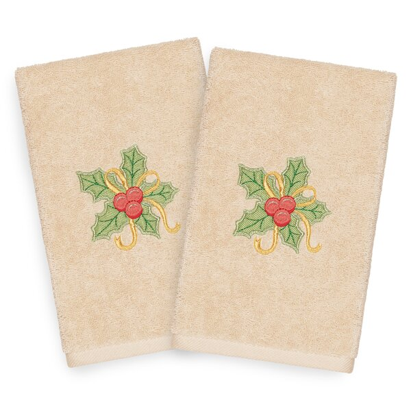 Beam Holly Bunch Embroidered Luxury 100% Turkish Cotton Hand Towel (Set of 2) by The Holiday Aisle